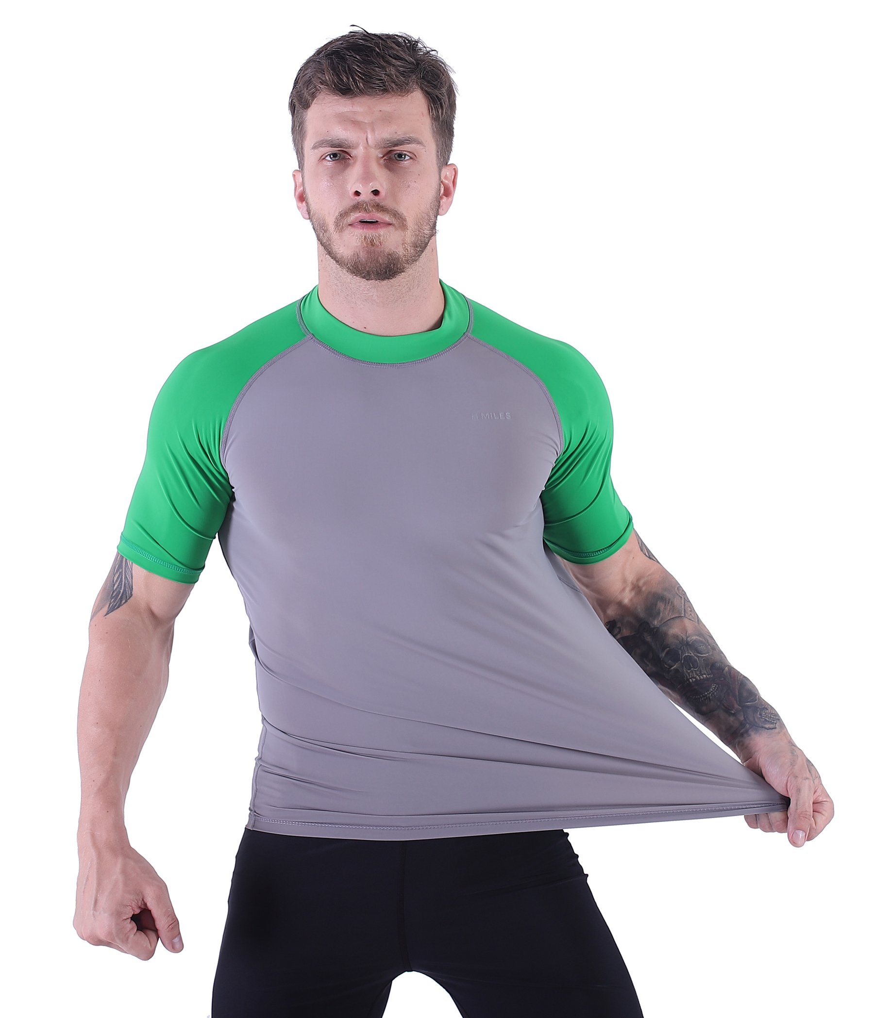 H.MILES Mens UV Protection Rash Guard Swim Shirts Short Sleeve Moisture Wicking Swimming Shirts Workout Swimwear Tops Light Grey/Green-2XL by H.MILES