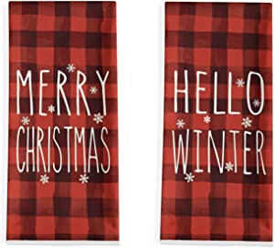 Artoid Mode Red and Black Buffalo Plaid Hello Winter Merry Christmas Kitchen Dish Towels, 18 x 28 Inch Xmas Holiday Ultra Absorbent Drying Cloth Tea Towels for Cooking Baking Set of 2