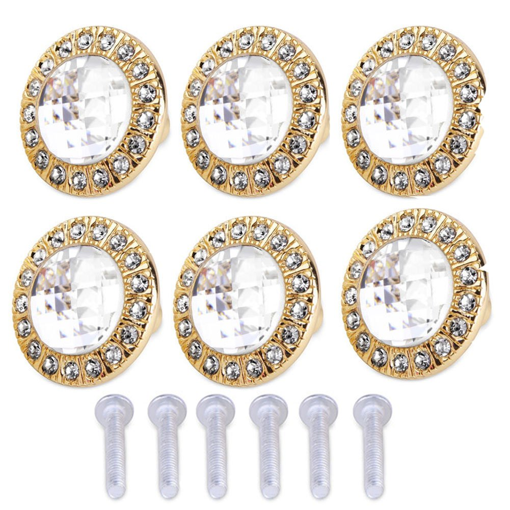 Mike Home Crystal Glass Diamonds Round Single Hole Handle Luxury Style Drawer Cabinet Door Handle 6 Pcs