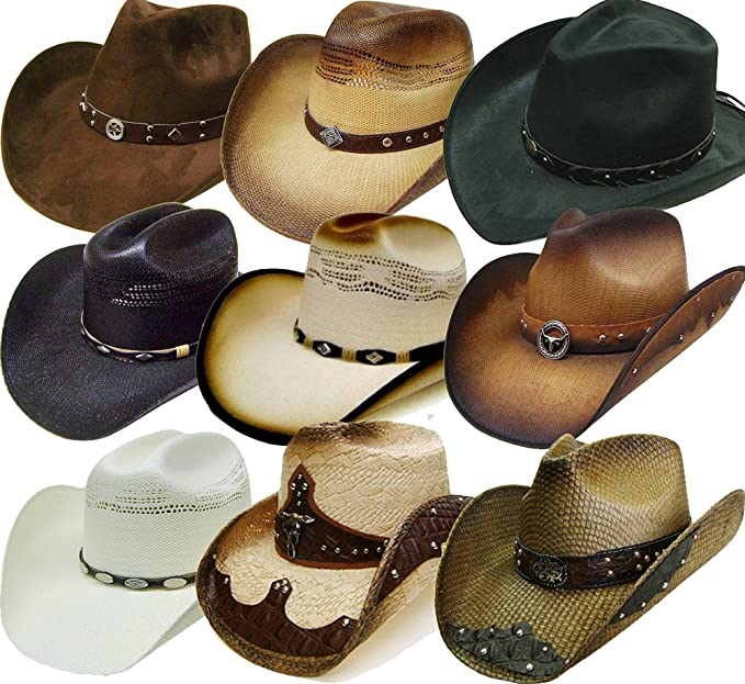 a80047694f5f7 Modestone 24 Pcs Top Selling Combo Straw Rodeo   Bling Cowboy Hats ...