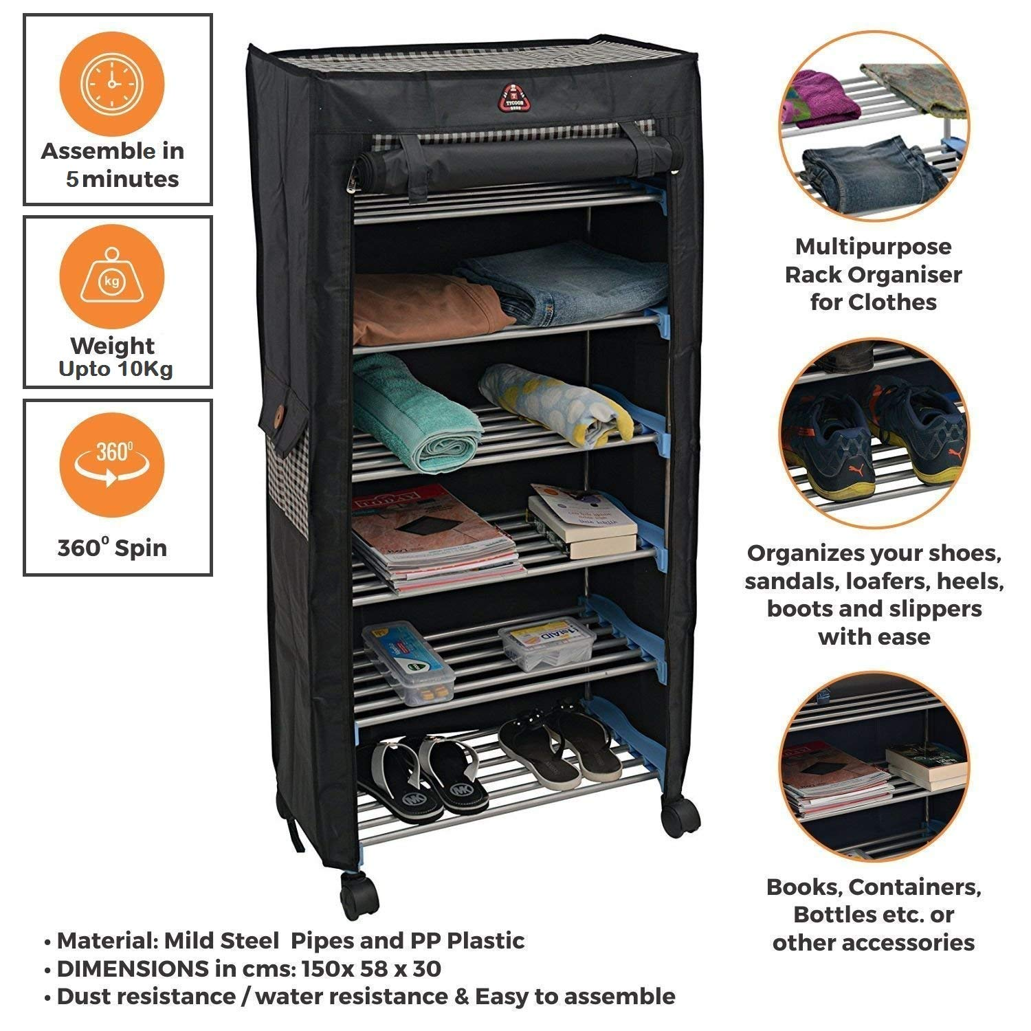Trendy 6 Shelves Steel Collapsible Shoe Rack Shoes Cabinet with Wheel and Cover