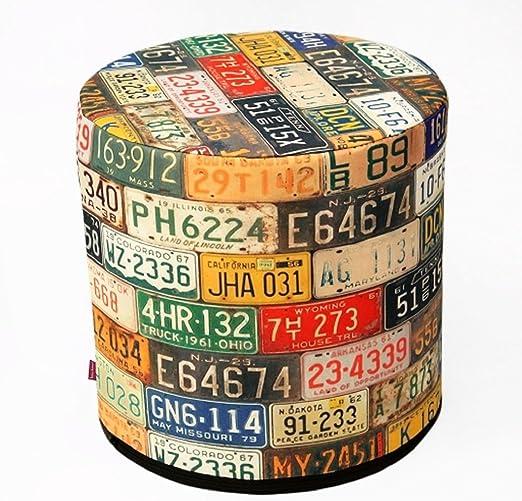 BERTONI Design Pouf Sitzpuff Sitzhocker 40x40 Filz Bezug Mehrfarbig Aufdruck Motiv Freeway