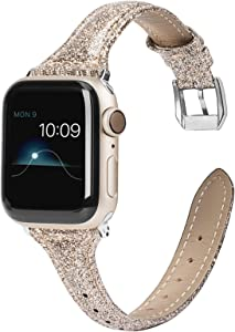 Wearlizer Gold Thin Glitter Leather Compatible with Apple Watch Bands 42mm 44mm Womens for iWatch Slim Wristband Glistening Strap Replacement Bracelet with Silver Metal Clasp Series 5 4 3 2 1 Edition