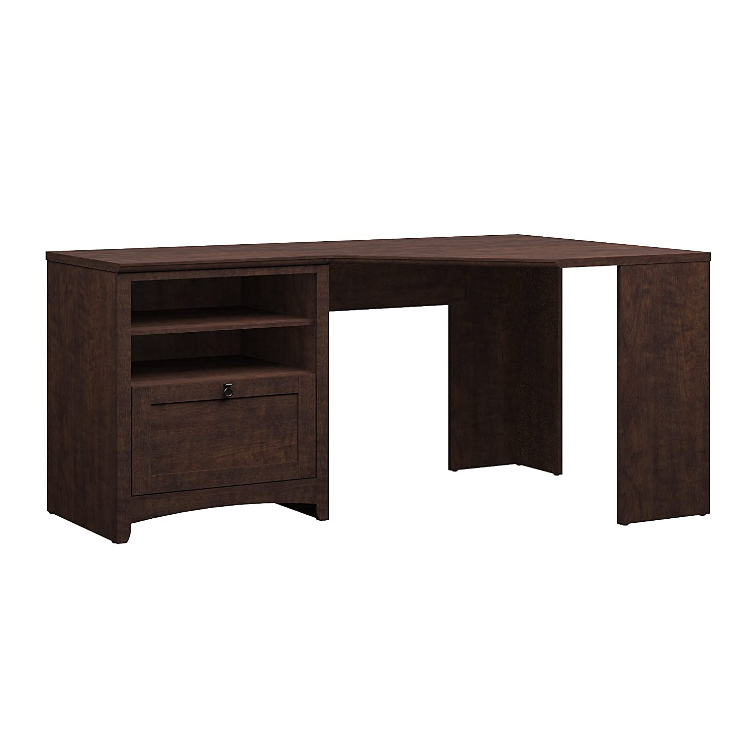 Bush Furniture Buena Vista 60W Corner Desk with Storage in Madison Cherry