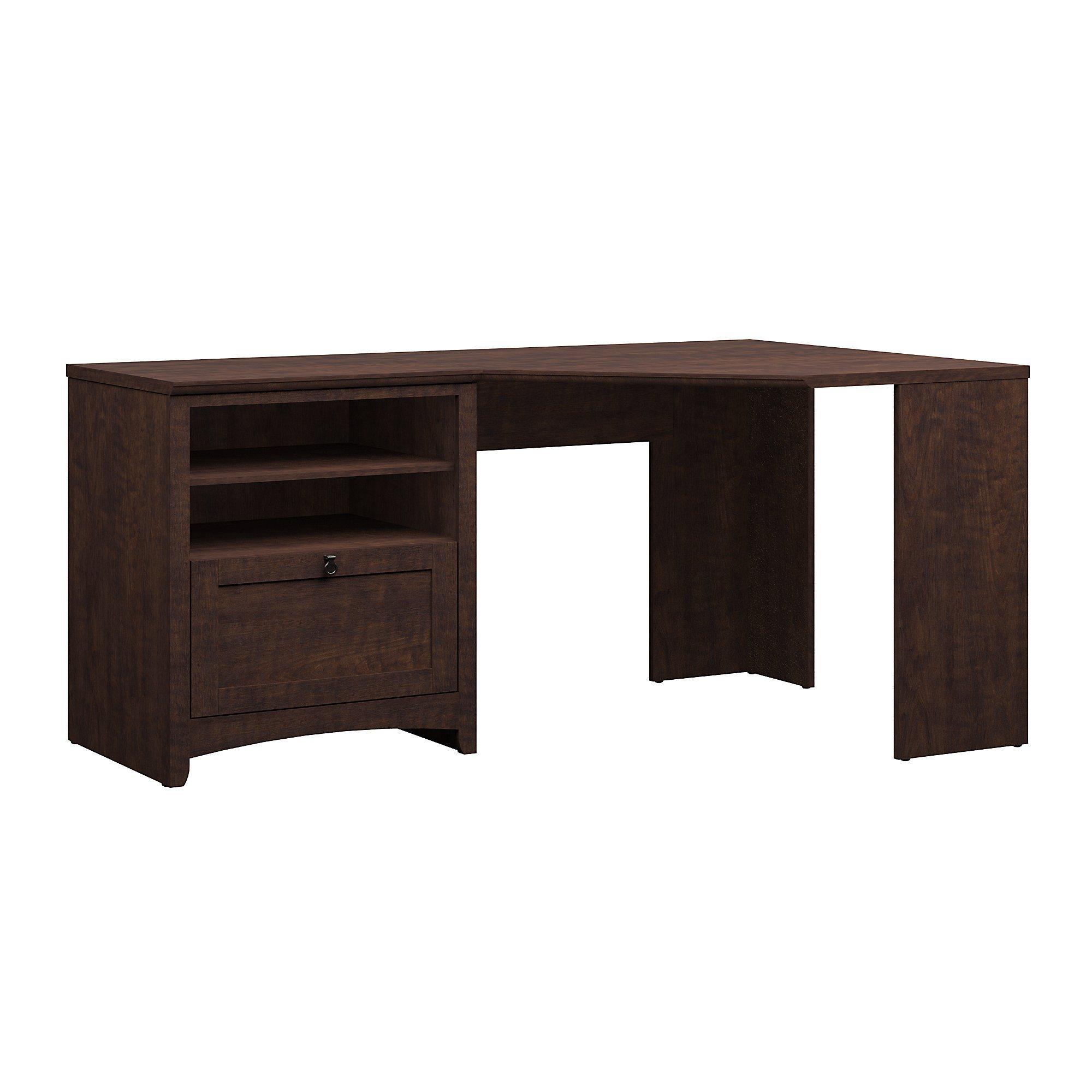 Bush Furniture Buena Vista 60W Corner Desk with Storage in Madison Cherry by Bush Furniture