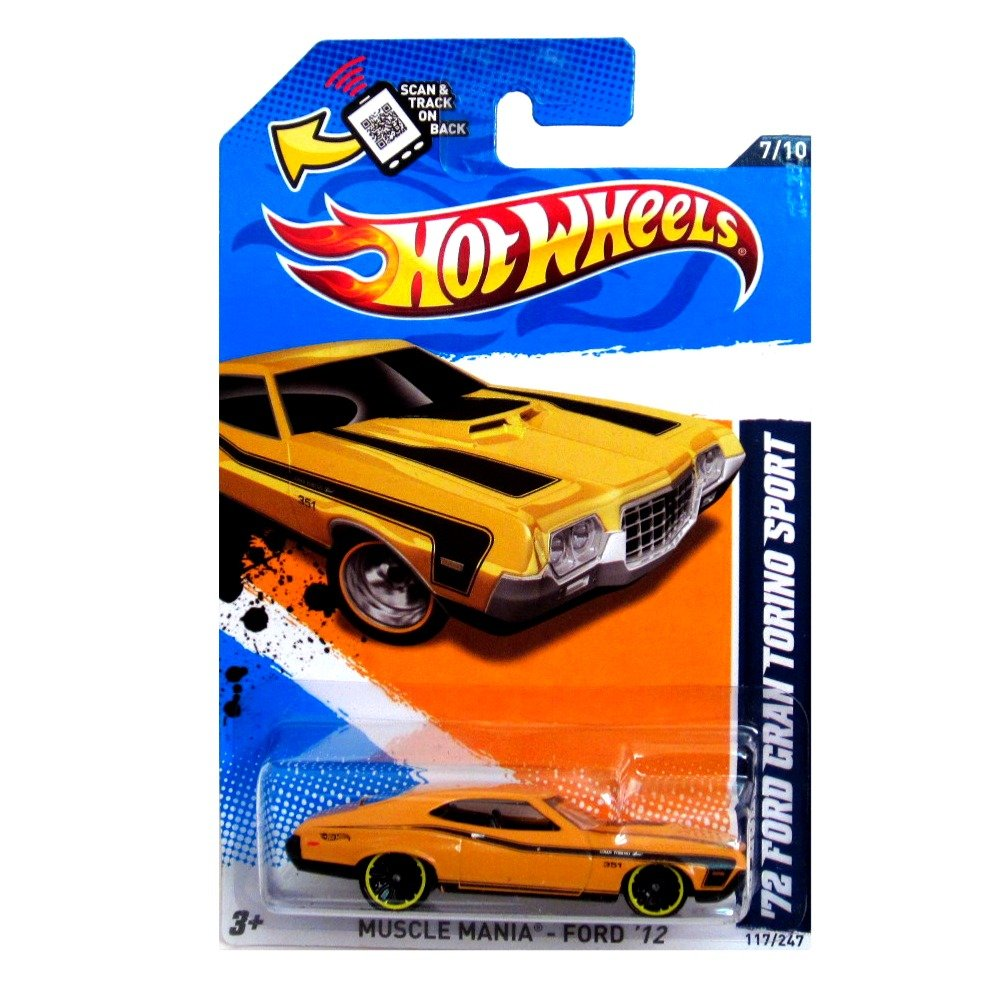 Hot Wheels - '72 Ford Gran Torino Sport (Orange w/Yellow Stripes) - Muscle Mania, Ford 12 - 7/10 ~ 117/247 [Scale 1:64] by Mattel