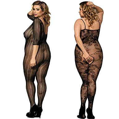 b92ffd98e5 2 Pack Plus Size Fishnet Bodystocking Open Crotch Lingerie Babydoll  Crotchless Teddy Lace Nightie Bodysuit for Women Black  Amazon.co.uk   Clothing