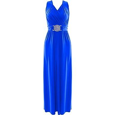 Robe de cocktail longue bleu roi