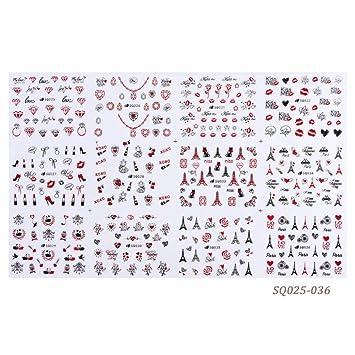 RXBGPZZJT Pegatina de uñas 12 Estilos Pegatinas 3D en las uñas ...