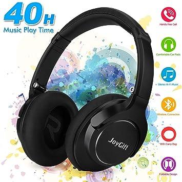 Auriculares Bluetooth,Auriculares inalámbricos Cascos inálambrico Plegable Hi-Fi Estéreo Cascos Bluetooth inalámbricos con Micrófono para Móviles PC,40Horas ...