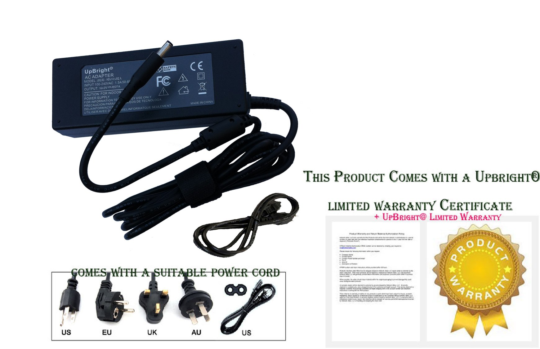 UpBright NEW Global AC / DC Adapter For Dell Inspiron 24 Model 7459 24-7459 W07C W07C003 3264 22-3264 Reg W17B Type W17B003 All-In-One Desktop PC Power Supply Cord Battery Charger Mains PSU