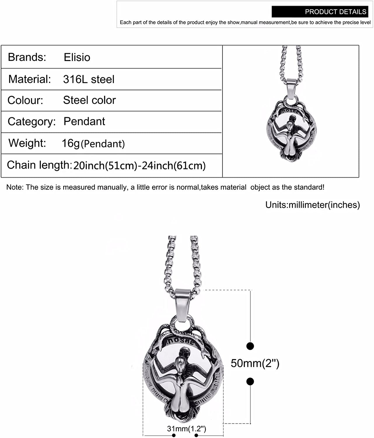 Elfasio Jewelry Stainless Steel Pendant Necklace Gothic Speculum Skeleton Snake Witch Mirror Chain