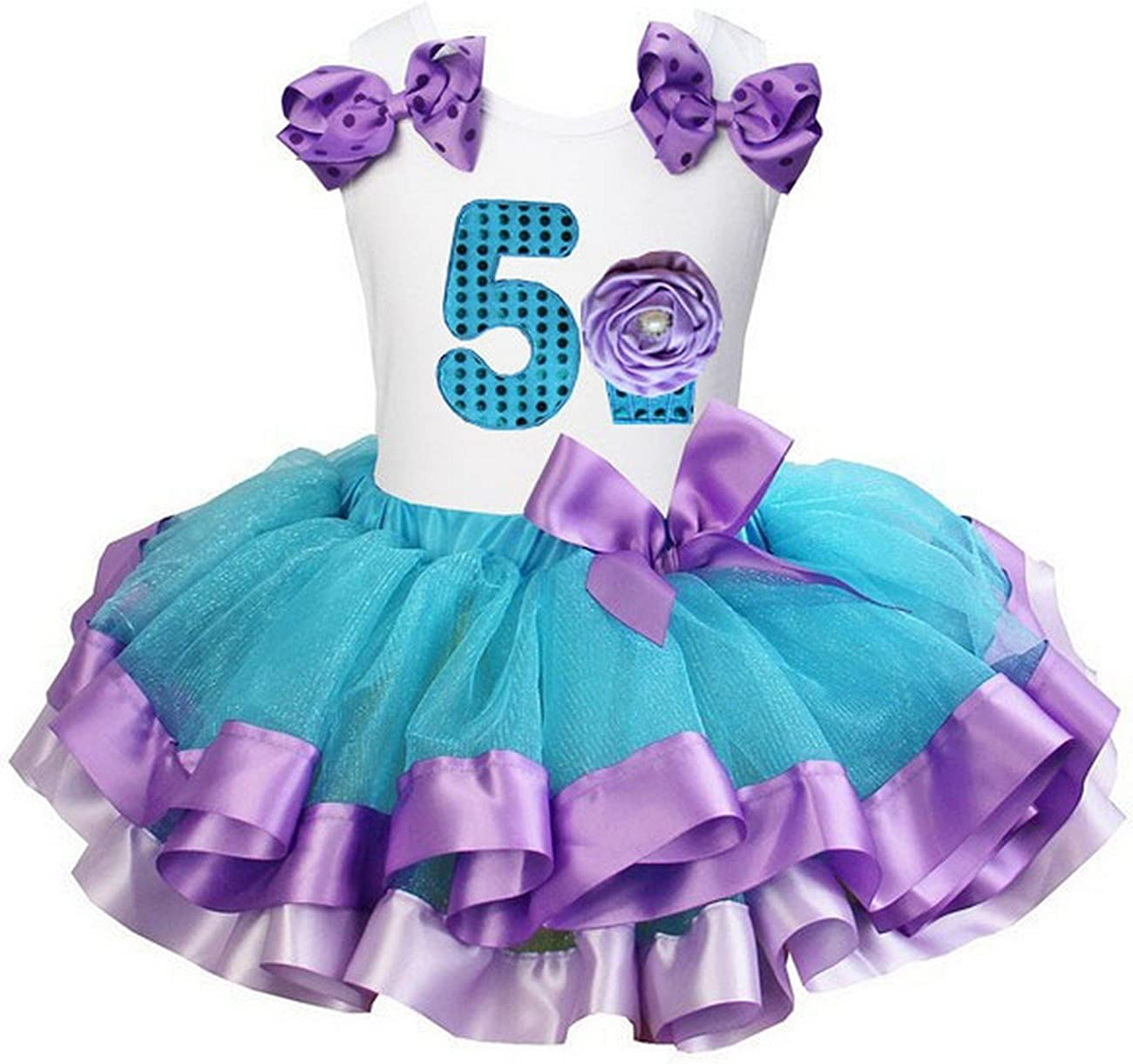 Kirei Sui Girls Blue Lavender Satin Trimmed Tutu /& Mermaid Birthday Tee Outfit