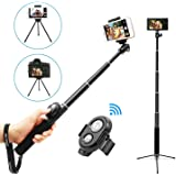 Bluetooth Selfie Stick Tripod with Remote for iPhone X 8 8 plus 7 7 plus 6s 6 5s Android Samsung Galaxy 3.5-6 inch Screen - Ubeesize 3 in 1 Extendable Monopod Mini Wireless Pocket Selfie Stick Holder 360 ° Rotation