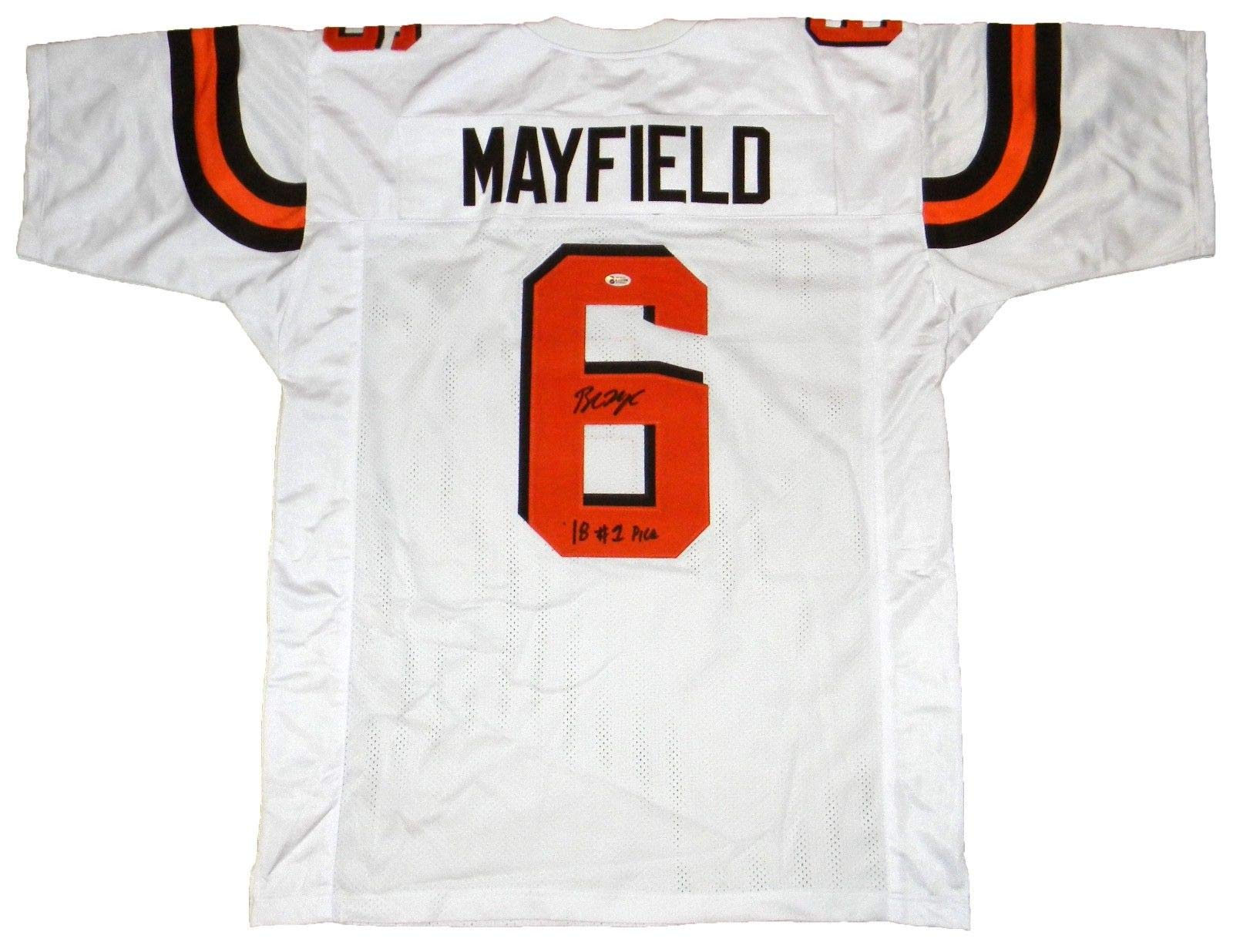 Cleveland Browns Baker Mayfield Autographed #6 White Jersey w/ #1 Pick Beckett COA