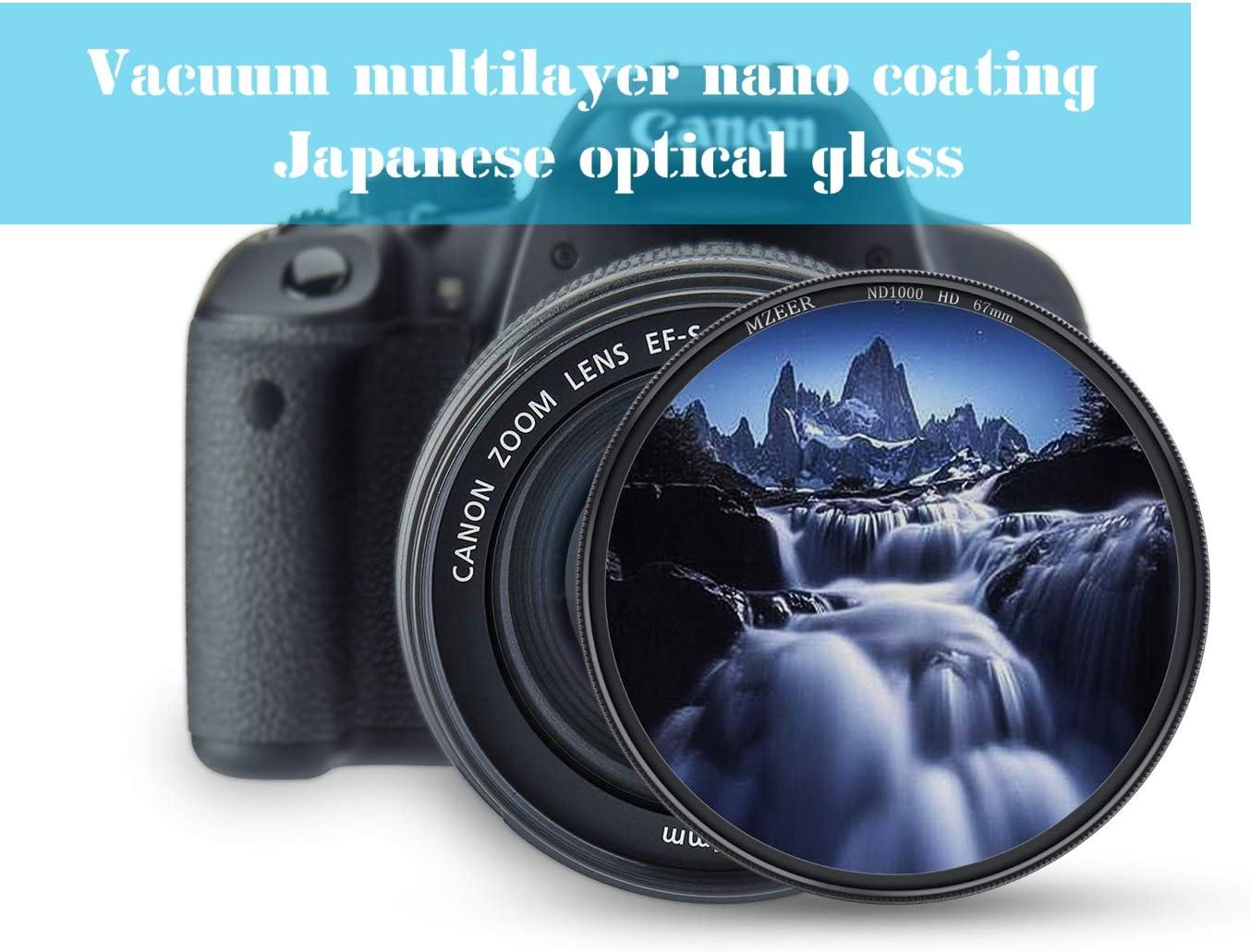 10-Stops Japanese Optical Glass Landscape Photography Equipment MZEER 62mm ND 1000 Filter Slim Neutral Density Filter for Camera Lenses ND 3.0 62mm