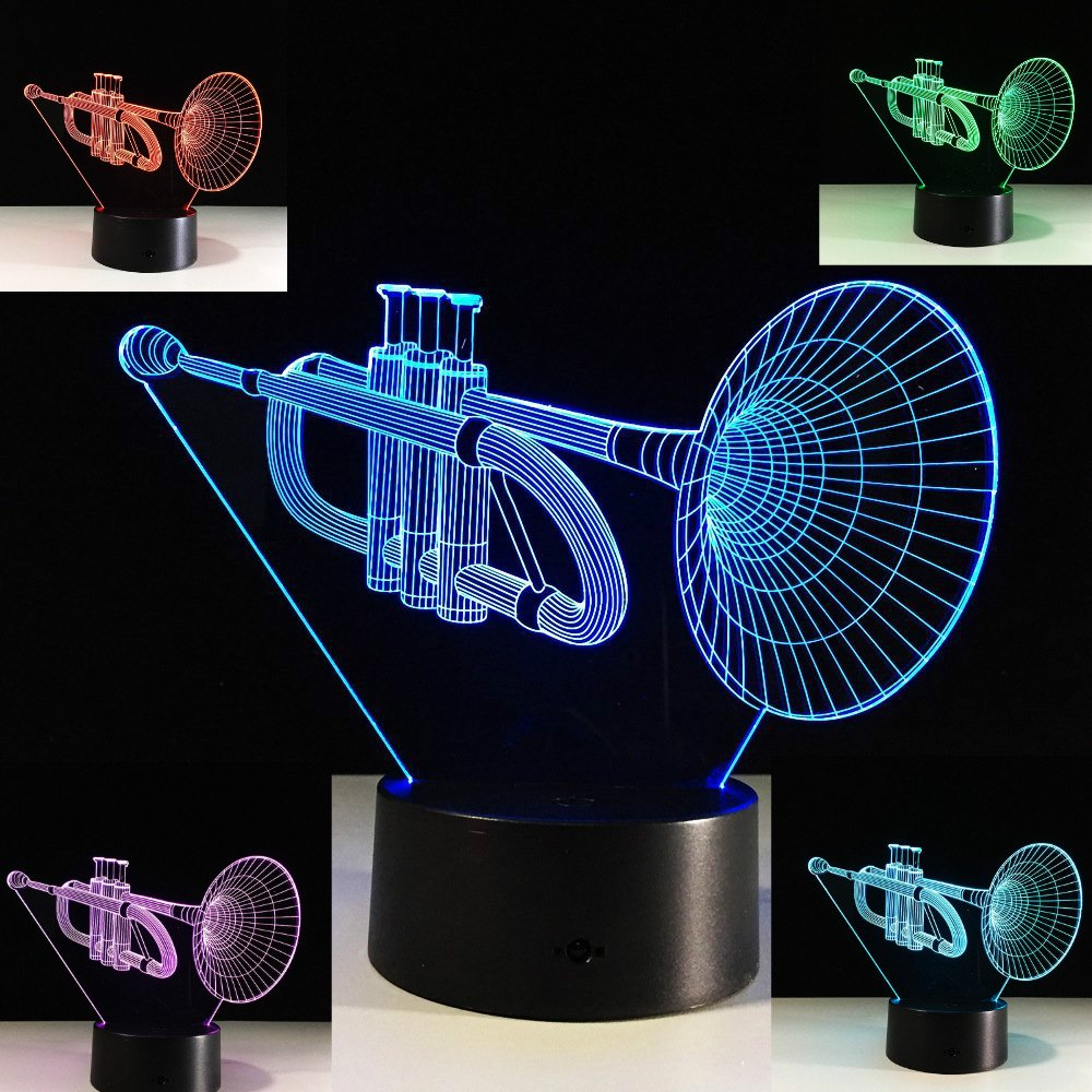 Musical Instruments 3D Trumpet Night Light Touch Switch Decor Table Desk Optical Illusion Lamps 7 Color Changing Lights LED Table Lamp Xmas Home Love Brithday Children Kids Decor Toy Gift by MOLLY HIESON (Image #1)