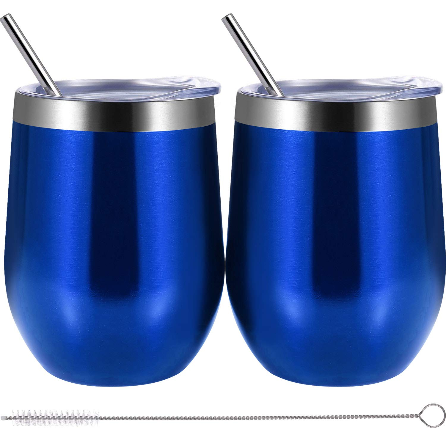b3f2052cc85 Skylety 12 oz Double-insulated Wine Tumbler, Stainless Steel Tumbler Cup  with Lids and Straws for Wine, Coffee, Drinks, Champagne, Cocktails, ...