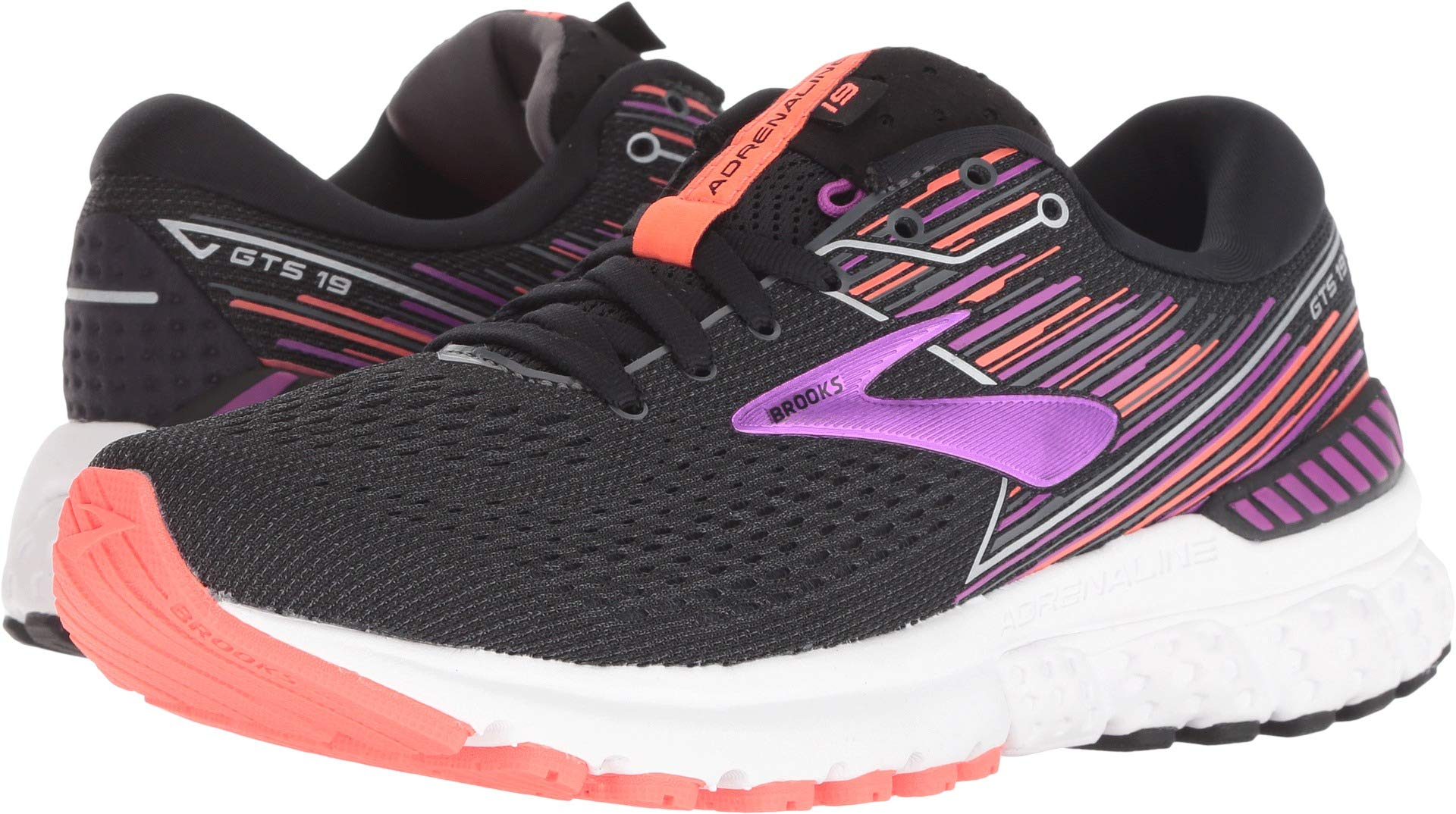 Brooks Women's Adrenaline GTS 19 Black/Purple/Coral 9 Wide US by Brooks