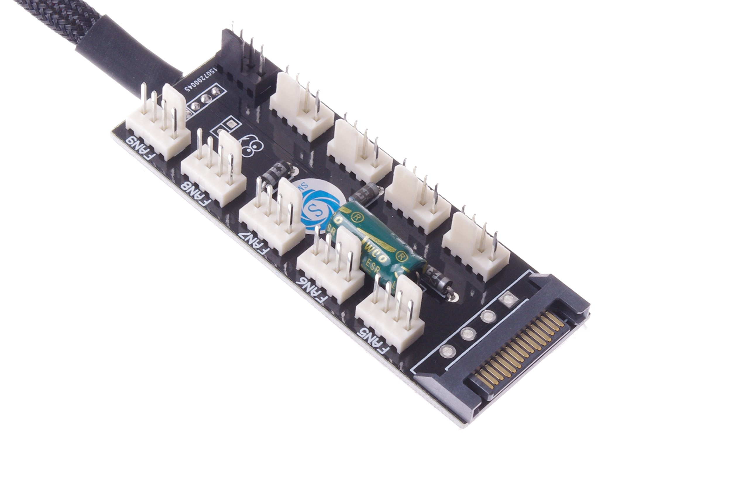SMAKNÂ PC FAN HUB temperature-controlled supports 10 Ports 12V 3pin/4pin Fan Cable SATA-port Power by SMAKN (Image #3)