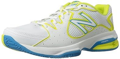 New Balance Women's WC786 Tennis Shoe,White/Yellow,9 ...