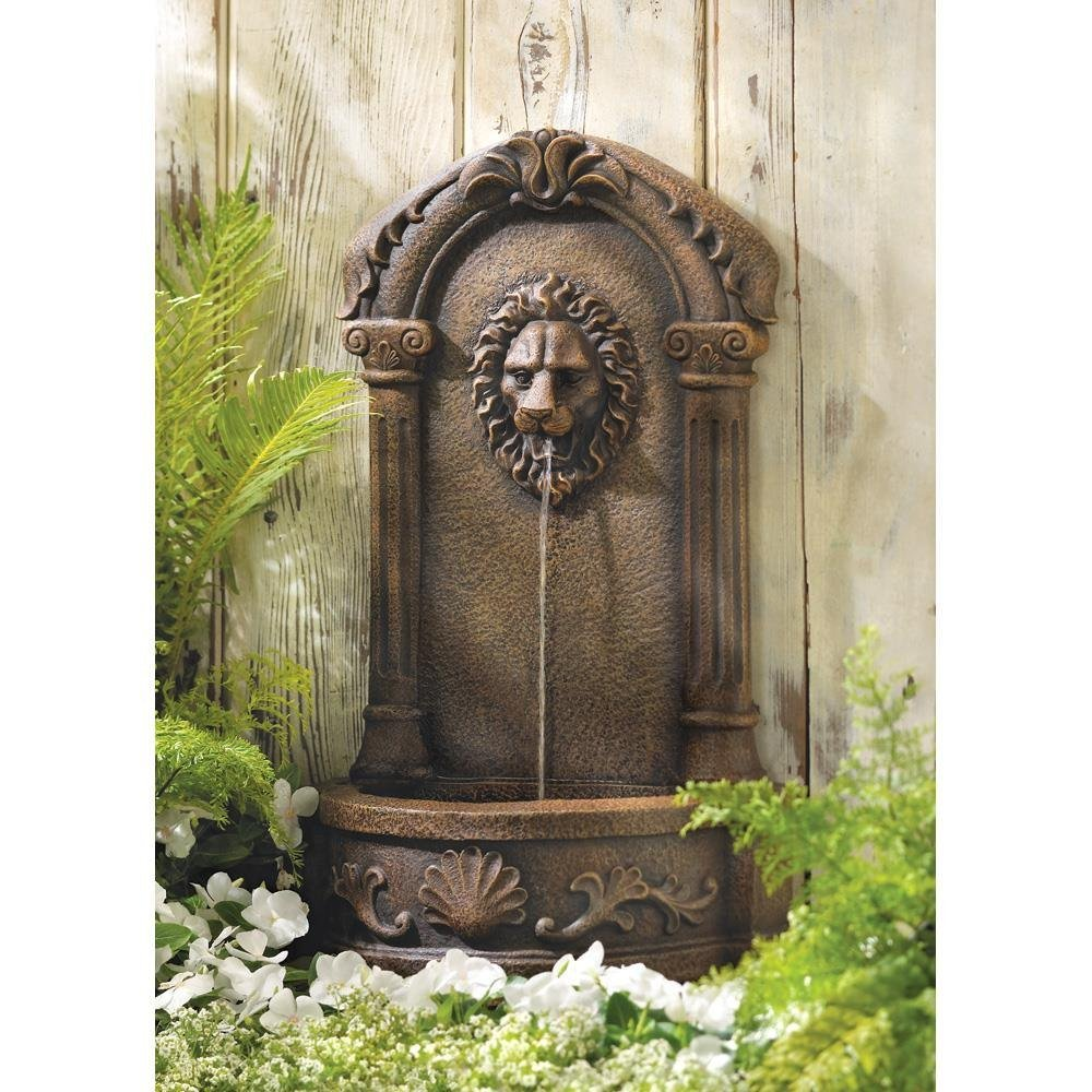 Cascading Fountains Outdoor Water Fountains, Faux Stone Lion Head Wall Fountain For Backyard