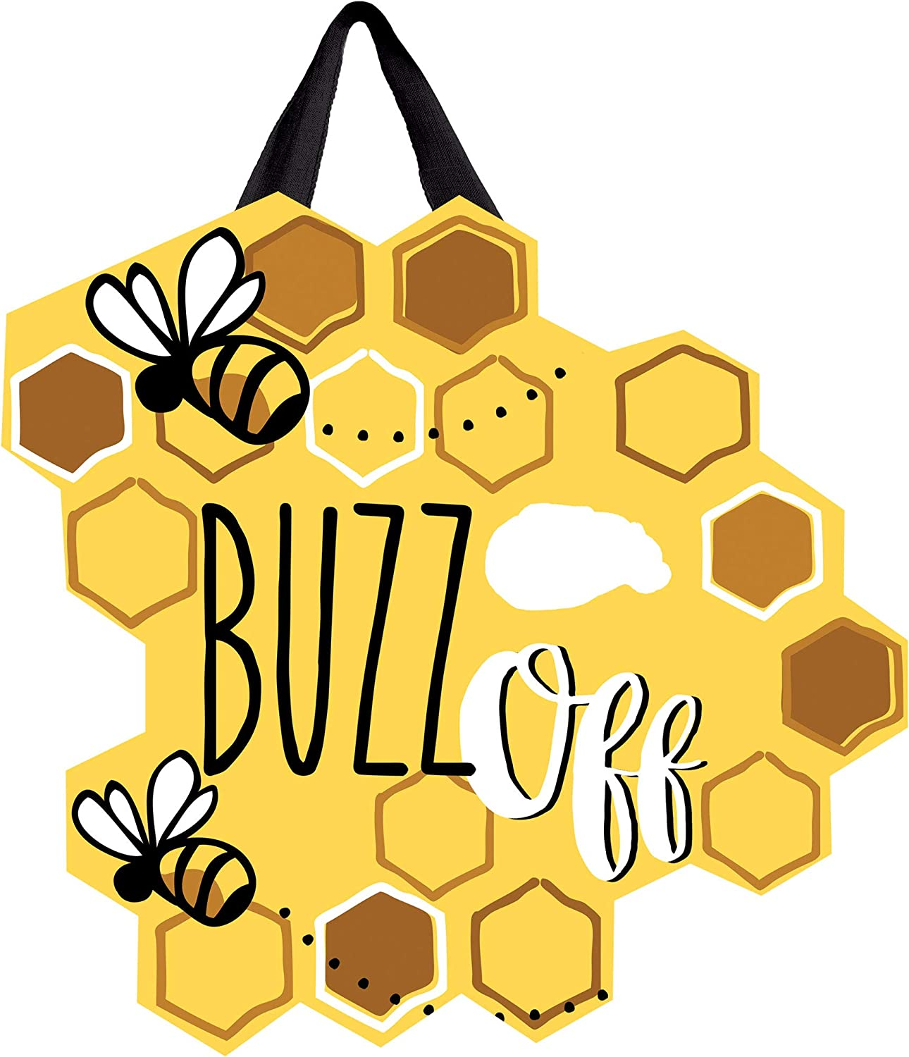 """Studio M Door Decor Buzz Off Decorative Front Door Sign with Ribbon Hanger, Durable Fade Resistant PVC, Made in The USA, 17.25"""" w x 16.75"""" h"""
