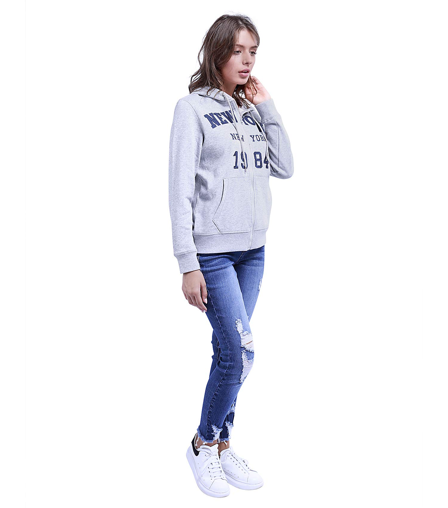 TWO BLOCKS OFF Womens Pull Over Hoodie Long Sleeve with Pockets Casual Pullover Sweatshirt Tops Light Grey Size S by TWO BLOCKS OFF (Image #2)