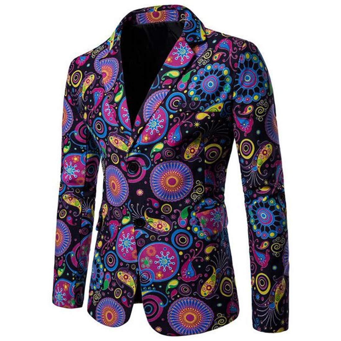 Domple Mens Linen Cotton Long Sleeve Ethnic Print African Blazer Jacket Aspic US XS