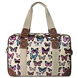 Miss Lulu Hand Shoulder Bag Ladies Owl Butterfly Floral Polka Dot Print Oilcloth Travel Overnight Weekend School Bag
