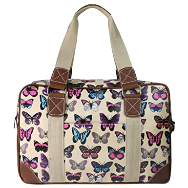 Miss Lulu Womens Butterfly Oilcloth Travel Weekend Away Bag Beige ...