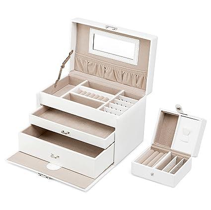 TRESKO® Caja para joyas joyero caja de joyas organizador de joyas, estuche de joyas, con mini joyero y espejo cosmético, de cuero sintético de alta ...