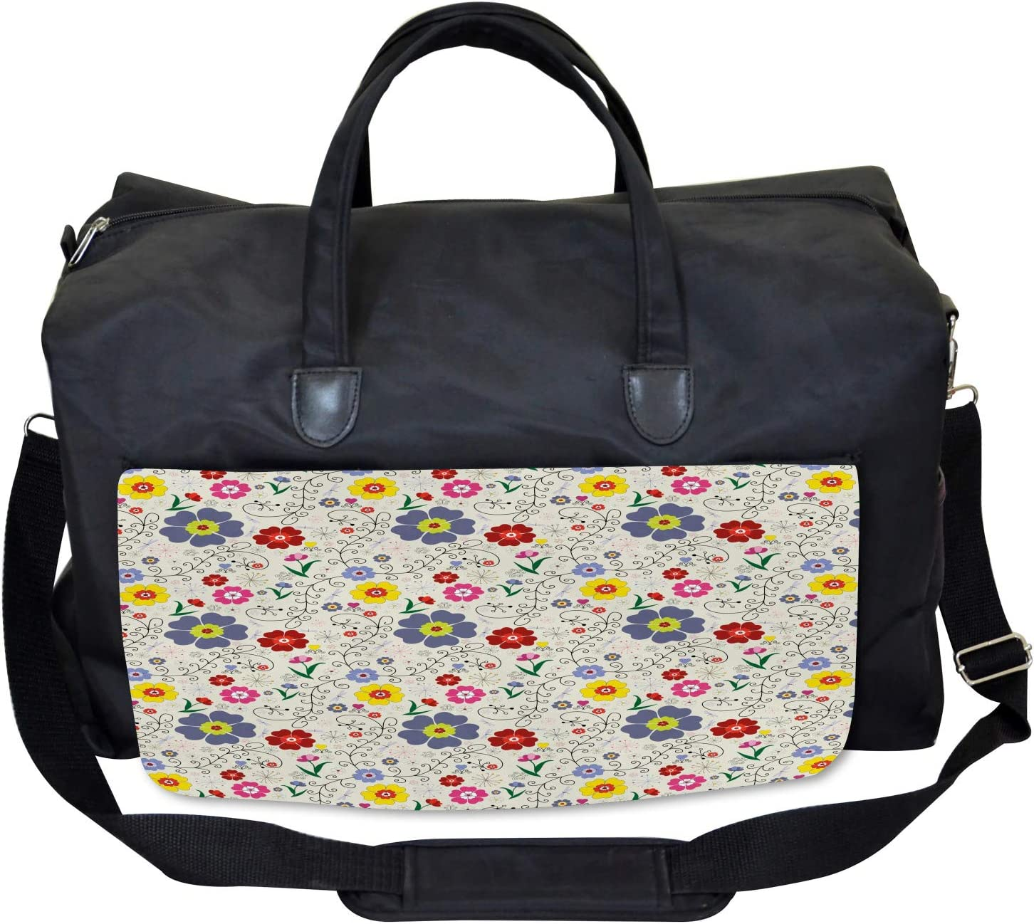 Ambesonne Floral Gym Bag Large Weekender Carry-on Flower Butterfly Pattern