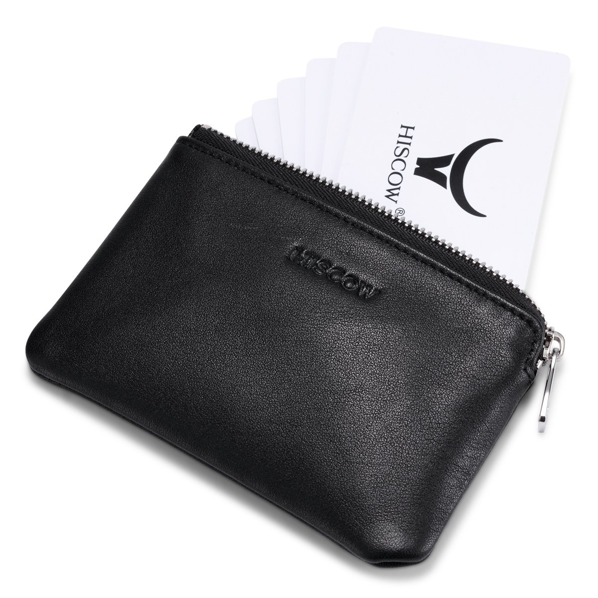 HISCOW Zipper Soft Card Pouch Black with Single Compartment - Italian Calfskin