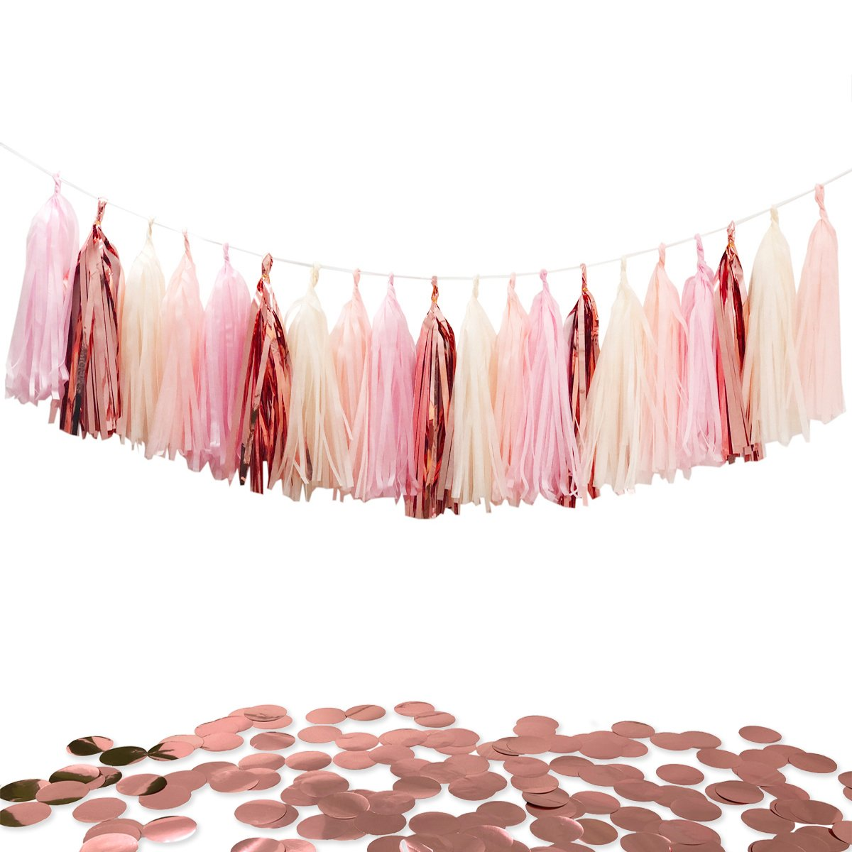 Tissue Paper Tassels Party Garland, 20pcs Rose Gold Foil Pink Blush Yellow Tassel 10g Rose Gold Confetti Gift for Baby Girl Showers Birthday Weddings Bridal Shower Decorations Haptda