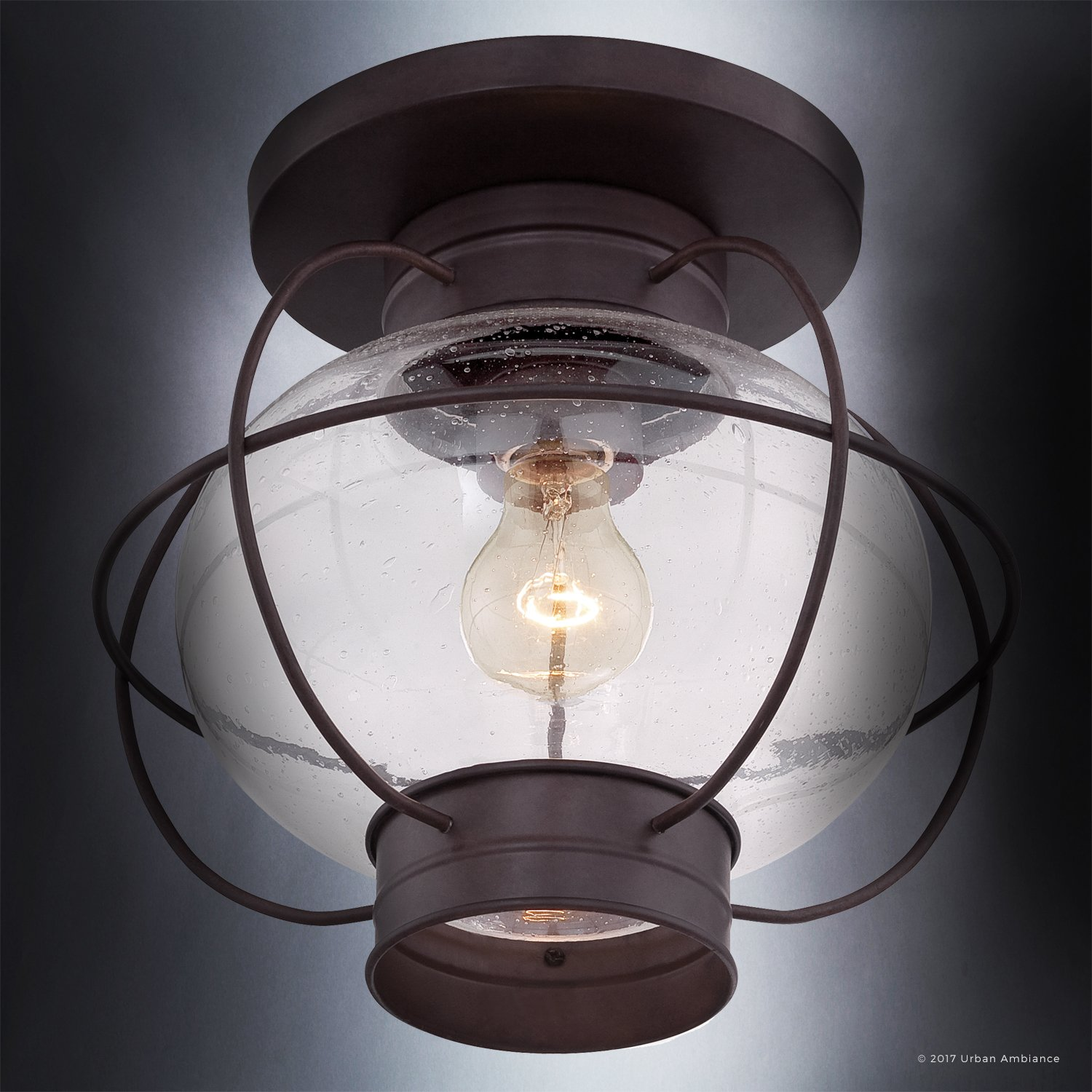 Luxury Nautical Outdoor Ceiling Light, Small Size: 10.5''H x 11.5''W, with Art Deco Style Elements, Cage Design, Bold Tawny Bronze Finish and Seeded Glass, UQL1033 by Urban Ambiance by Urban Ambiance (Image #5)