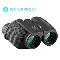 Compact Binoculars for Adults, 10x25 Pocket Size Mini Waterproof Binoculars with Powerful Folding, Small Lightweight Telescope with Cleaning Cloth and Carry Case for Adults Kids Bird Watching by XIFIQY