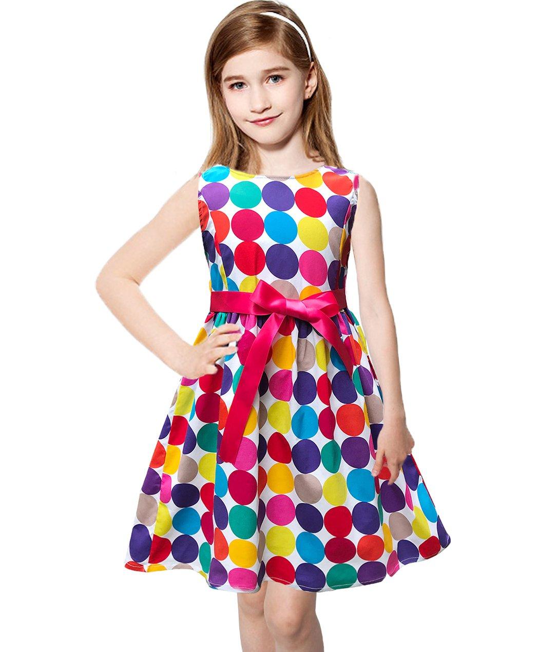 Abalaco Girls 100% Cotton colorful Polka Summer Sleeveless Sundress Tutu Dress 2-8T (6-7 Years)