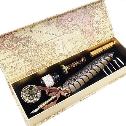 Juego de bolígrafos de caligrafía GC, pluma estilográfica de lujo y juego de tinta con 5 plumas, soporte para bolígrafo, sello y cera en caja de regalo LL-66: Amazon.es: Oficina y papelería