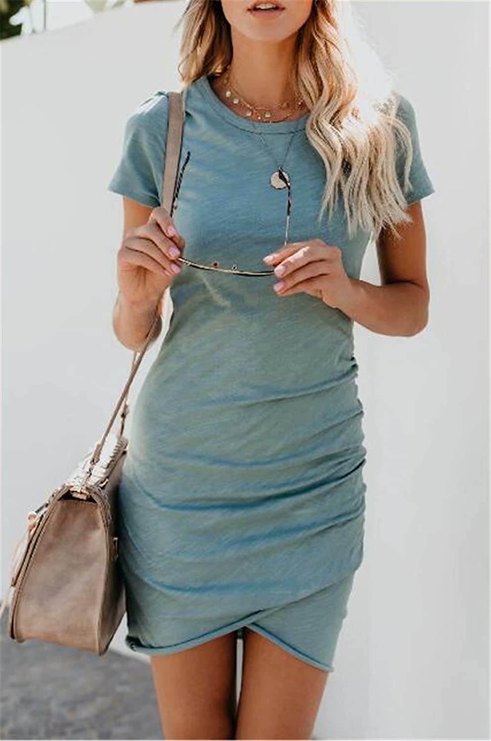 SUPEYA Women Casual Solid Ruched Short Sleeve T-Shirt Midi Dress Slim Wrap Dress