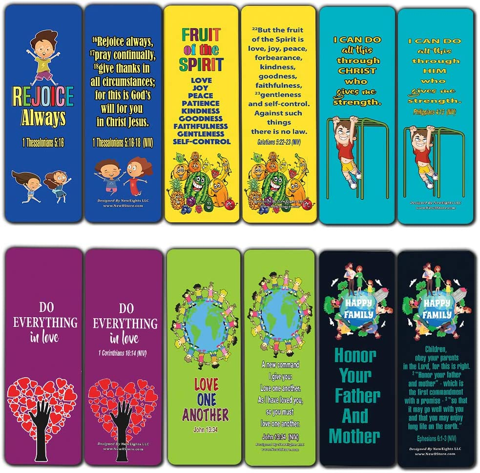 Christian Bookmarks for Kids (12-Pack)- Character Building Bible Verses Cards - Great Stocking Stuffers for Easter Baptism Thanksgiving Christmas Sunday School Party Favors Classroom Incentives