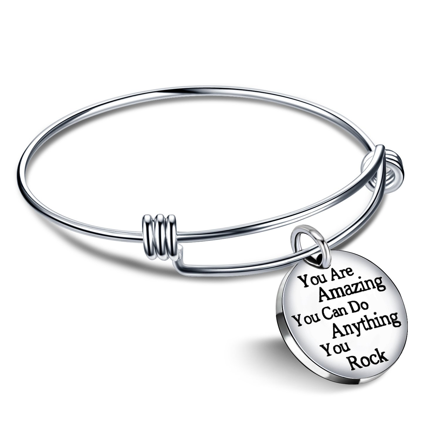 lauhonmin Bangle Bracelets Jewelry for Women Mens Birth Gift You are Amazing You Can Do Anything You Rock