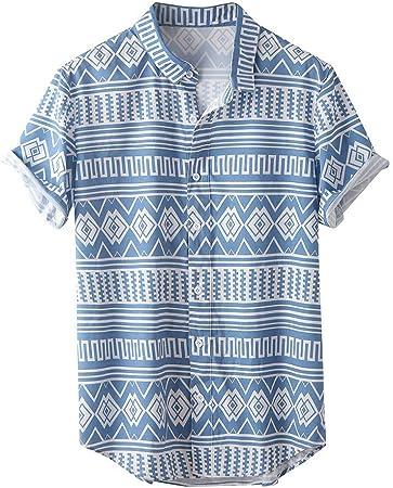 Camisa Hawaiana Hombre Estampada de Étnico Funky Camisas Manga Corta Cuello Vuelto Hawaii Shirt Suave Cómoda Blusa Ropa con Botón