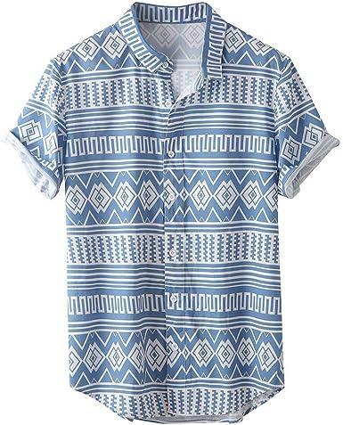 Camisa Hawaiana Hombre Estampada de Étnico Funky Camisas Manga Corta Cuello Vuelto Hawaii Shirt Suave Cómoda Blusa Ropa con Botón: Amazon.es: Ropa y accesorios