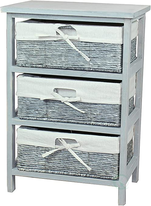 SHABBY CHIC~ WOODEN KITCHEN STORAGE CABINET WITH 3 PULL OUT WIRE BASKETS DRAWERS