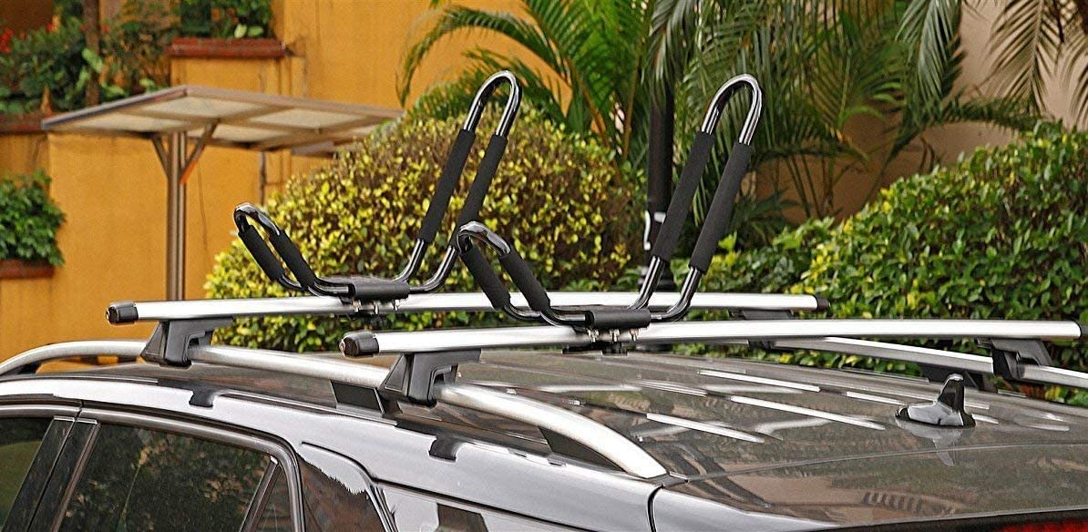 SUP and Kayaks Mounted on Your Car SUV Universal Foldable J-Bar Kayak Rack DrSportsUSA Car Roof Top Folding Carrier 2 Pairs for Canoe