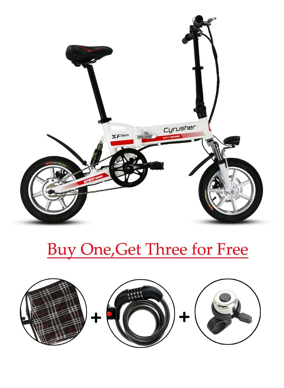 Cyrusher® XF600 Bicicleta Eléctrica Blanco Rojo 240W 36V Bicicleta de Viaje Bicicleta Batería de Litio Bicicleta Plegable Suspensión Completa Frenos de ...
