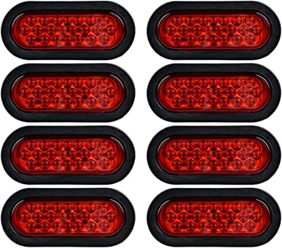 amazon.com: 12v oval sealed led truck tractor trailer tail lights + wiring  plugs (pack of 8, red): automotive  amazon.com