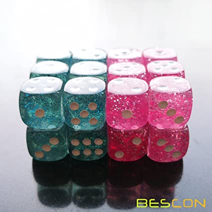 edb24e870 Amazon.com: Bescon Ethereal Glitter 12mm 6 Sided Game Dice Set of ...