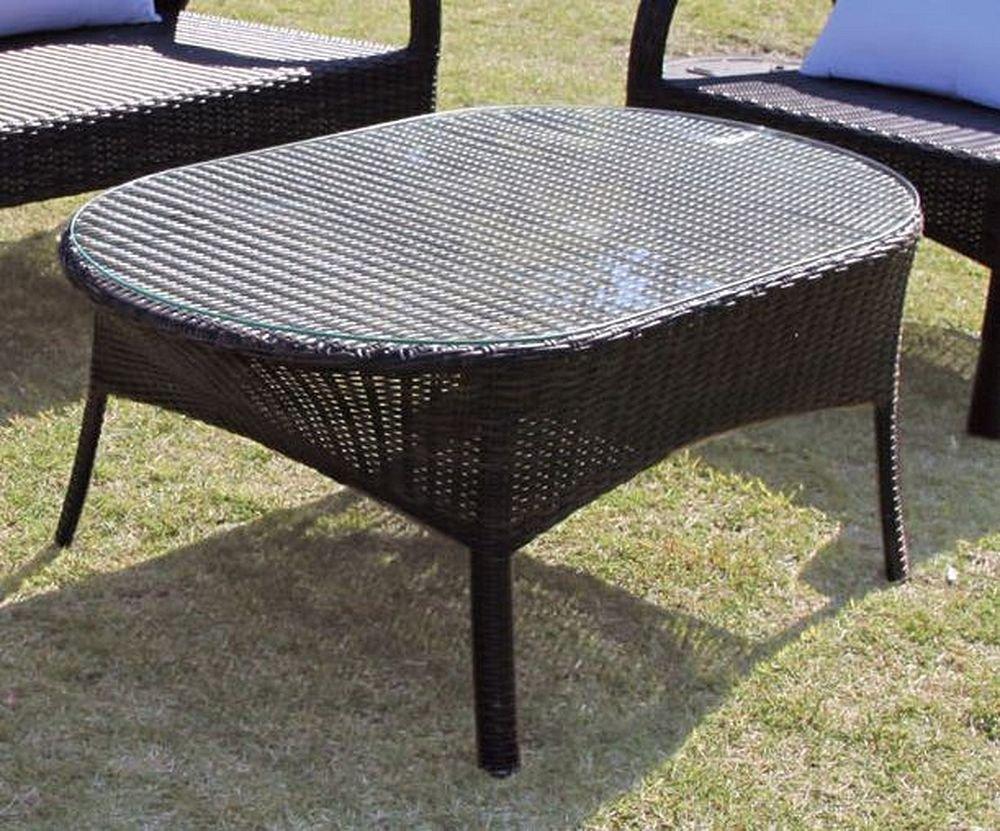ジャービス商事 人工ラタンファニチャー ガーデンテーブル オーバルガラステーブル NH-2072-1Z 38716 テーブルのみ B01IK55Z8S